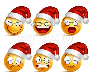 Christmas Smiley Face of Santa Claus Vector Icons Stock Vector