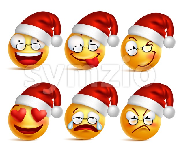 Santa claus emoticons or smiley faces set with facial expressions and christmas hat isolated in white background vector illustration. This vector smiley icons was ...
