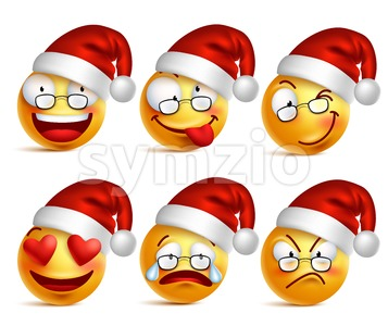 Santa Claus Emoticons or Smiley Faces in Vector Stock Vector