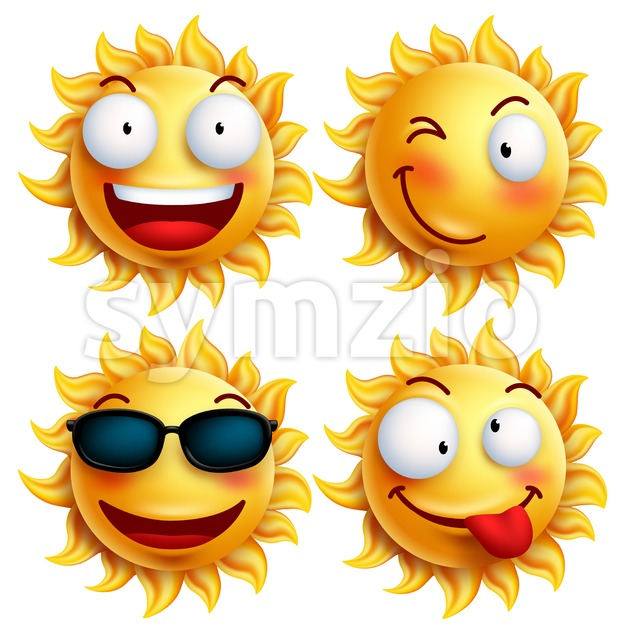 Sun Vector Character Set with Facial Expressions Stock Vector