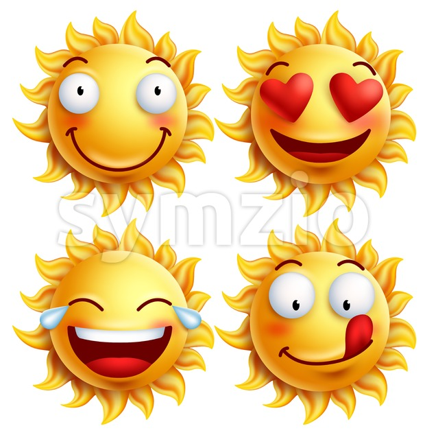 Vector Sun Face with Funny Facial Expressions Stock Vector