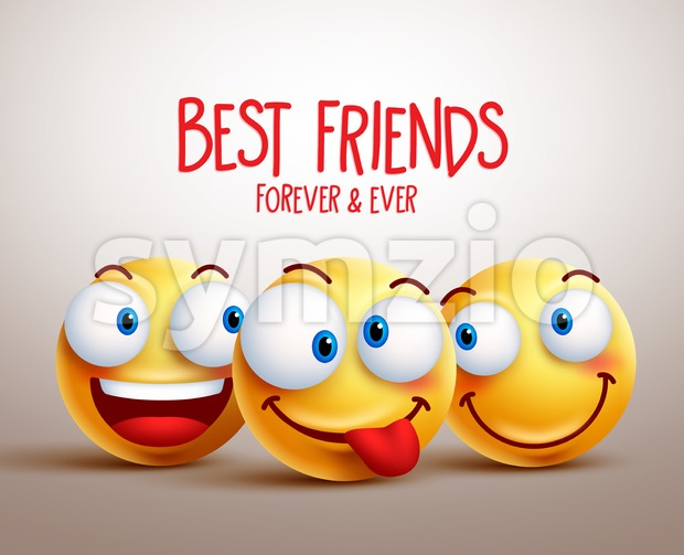Best Friends Smiley Face Vector Design Concept Stock Vector