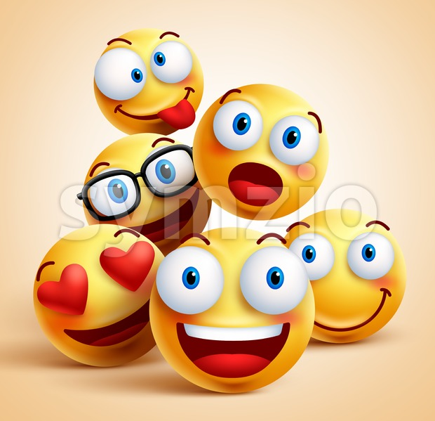 Smiley Faces Group of Vector Emoticon Characters Stock Vector