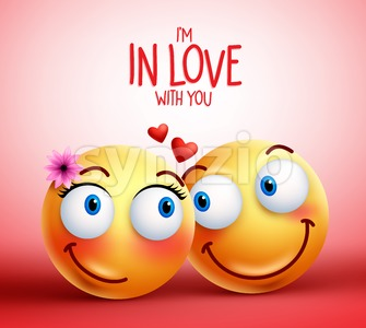 Smiley Face Couple or Lovers for Valentines Stock Vector