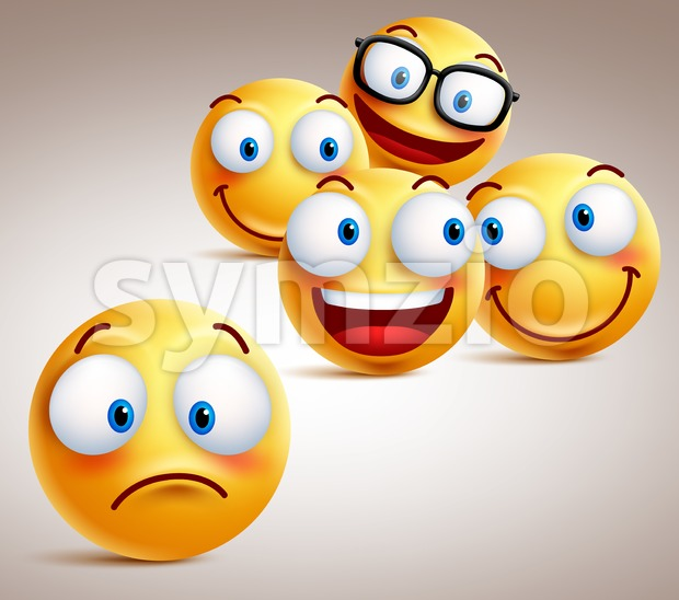 Lonely Smiley Face Vector Character Concept Stock Vector
