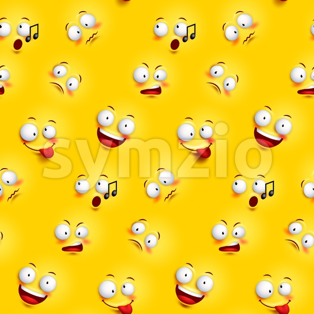 Seamless Smiley Face Pattern with Expressions Stock Vector