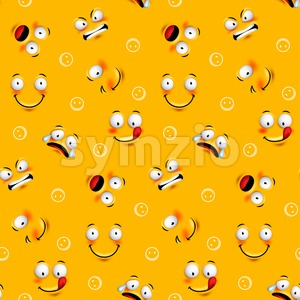 Smiley Face Seamless Pattern with Expressions Stock Vector
