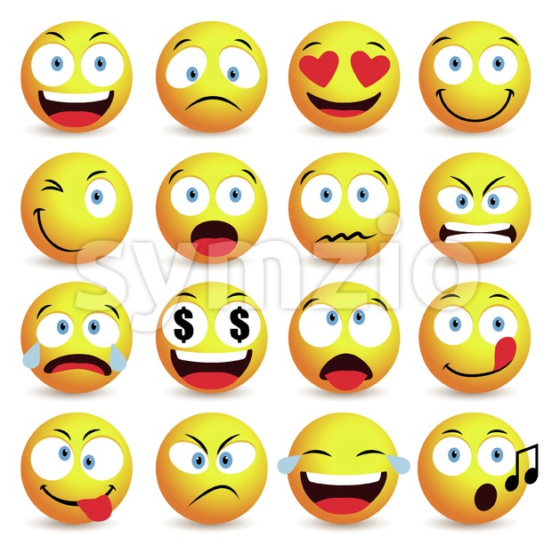Emoticon vector set and smiley face with facial expressions isolated in white background vector illustration.This vector smiley iconswas design with ...