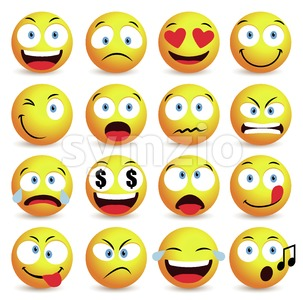 Emoticon Vector Set and Smiley Face Stock Vector