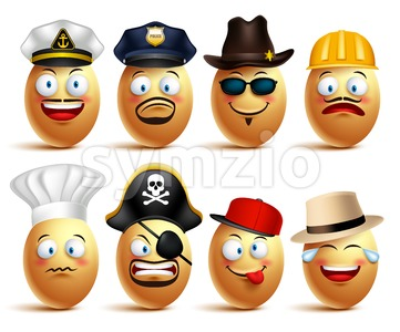 Vector Egg Faces of Professionals with Caps Stock Vector