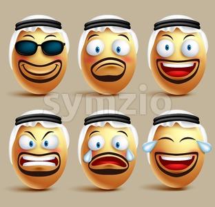Vector Saudi Arab Man Egg Faces Wearing Ghutrah Stock Vector