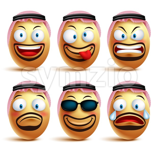 Vector saudi arab man egg faces set wearing agal and ghutrah or head dress with facial expressions and emotions as ...