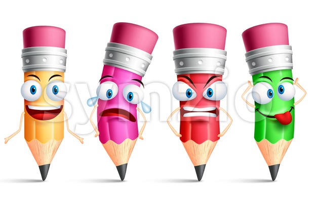 Vector Pencil Character or Mascot Set Stock Vector