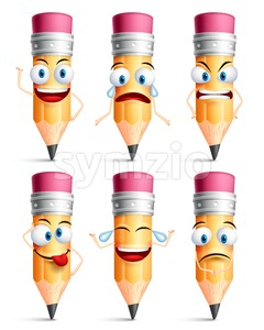 Pencil Character Facial Expressions and Emotions Stock Vector