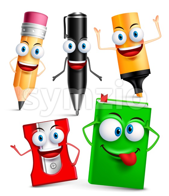 Vector School Characters of School Items Mascot Stock Vector