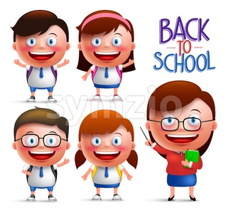 Teacher and Students Vector Character Set Stock Vector