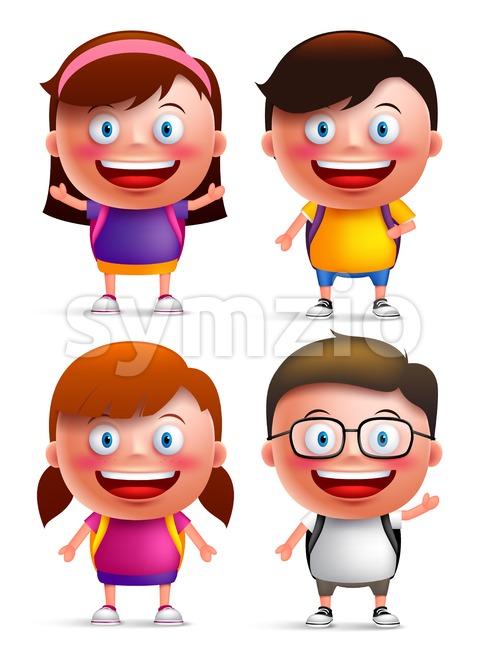 Kids Students Vector Characters Set Stock Vector
