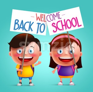 Boy and Girl Vector Character in Back to School Stock Vector