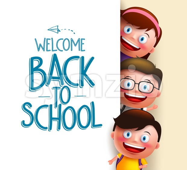 Kids students vector characters in white board with blank space for text with welcome back to school written vector illustration. This vector student ...