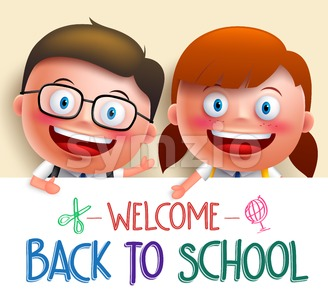 Student Vector Character with School White Board Stock Vector
