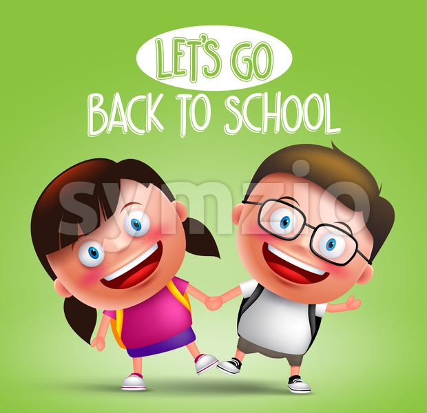 Kids student holding hands vector characters happy going to school wearing backpacks in green background with back to school text ...