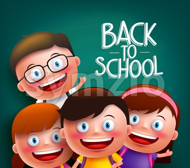 Classmates Vector Characters for Back to School Stock Vector