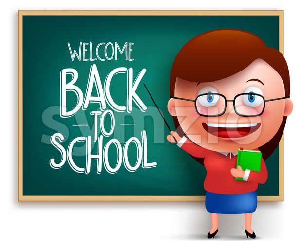 Back to School Teacher in Blackboard Vector Stock Vector