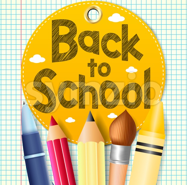 Back to School In A Circle Tag with School Supplies on a Paper Patterned Background Vector Illustration. This beautiful educational ...