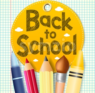 Back to School Tag on Paper Patterned Background Stock Vector