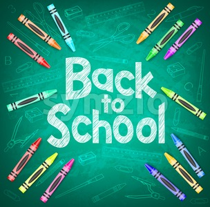 Back to School on Green Chalkboard Stock Vector