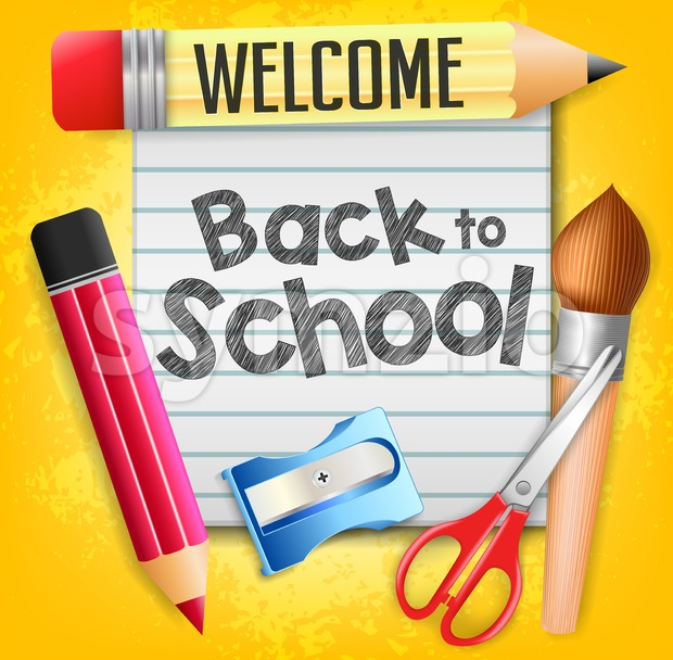 Welcome Back to School with School Supplies Stock Vector