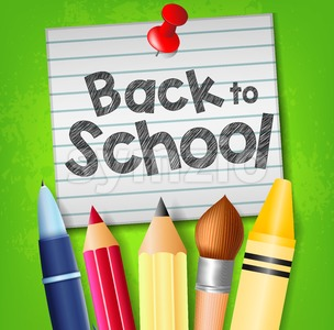 Back to School Text on Pinned Piece of Paper Stock Vector