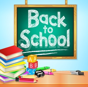 Back to School Text on Hanging Chalkboard Stock Vector