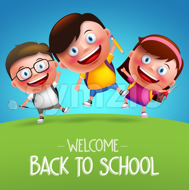 Back to school students vector characters jumping funny boys and girls kids in horizon going to school with backpack bag ...