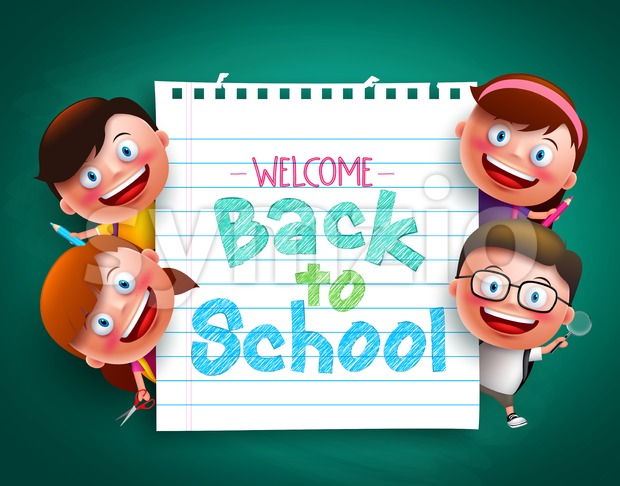 Back to school colorful text written in paper with funny vector kids characters holding school items vector illustration. This vector student ...