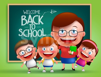 Teacher and Students Vector Characters Stock Vector