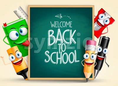 School Vector Characters of School Items Stock Vector