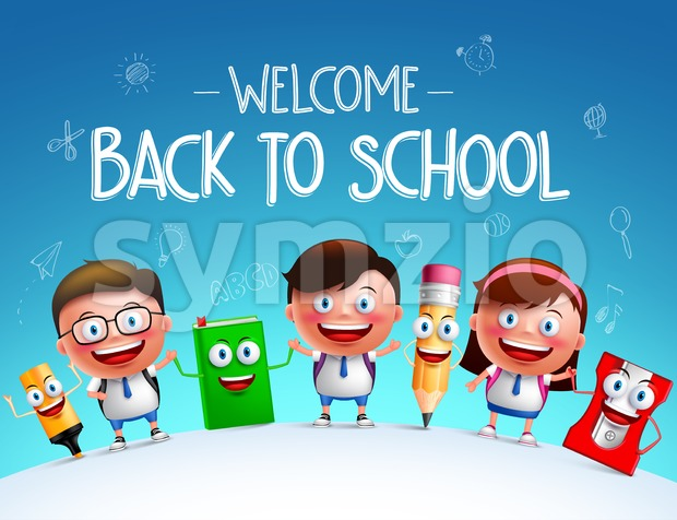 Kid students vector characters and funny school items mascot happy holding each other in a horizon for back to school ...