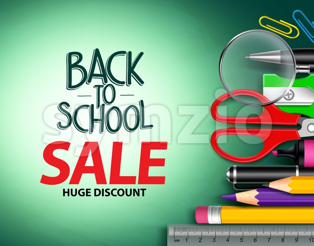 Vector back to school sale text in green background with colorful school items and objects for school promotion vector illustration. This ...