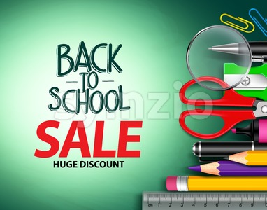 Vector Back to School Sale Text in Background Stock Vector