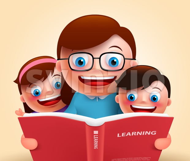 Reading Book by Teacher and Kids Vector Stock Vector