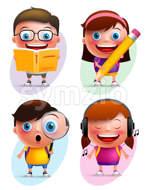 Funny Kids Vector Characters Reading and Writing Stock Vector