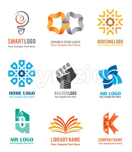 Logo Vector Icons Set For Company Identity Stock Vector