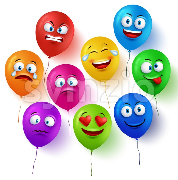 Vector Balloon Faces Set with Facial Expressions Stock Vector