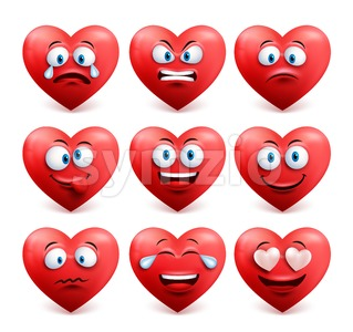 Vector Heart Face Set with Facial Expressions Stock Vector