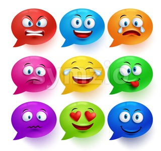Vector Speech Bubble Set with Facial Expressions Stock Vector