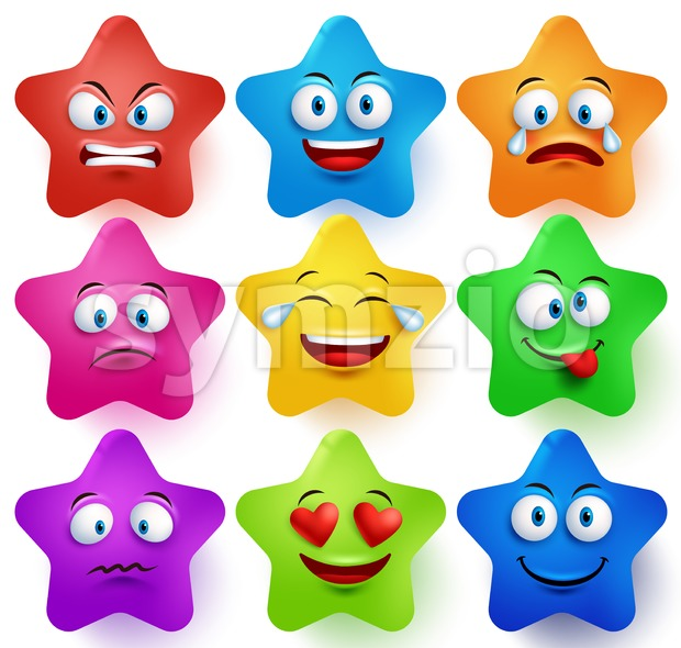 Vector Star Faces Set with Facial Expressions Stock Vector