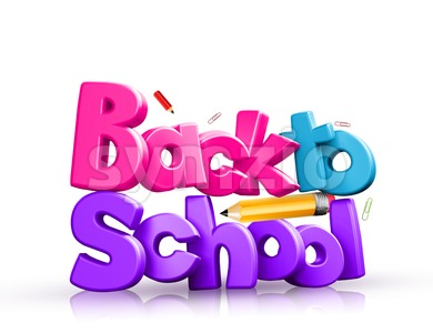 Back to School 3D Rendered Colorful Illustration Stock Photo