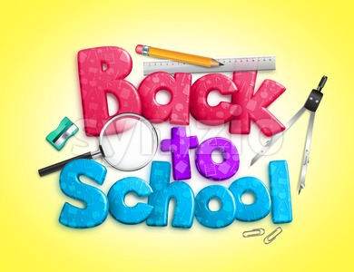 Colorful Back to School 3D Rendered Stock Photo