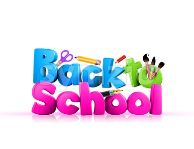 Back to School Illustration Colorful 3D Rendered Stock Photo